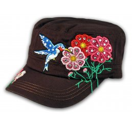 Bird and Flowers Brown Cadet Castro Hat Military Army Cap Jewels