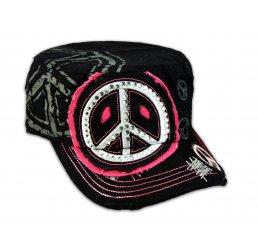Black Cadet Cap Peace Sign Army Hat Vintage Distressed Visor Jewel