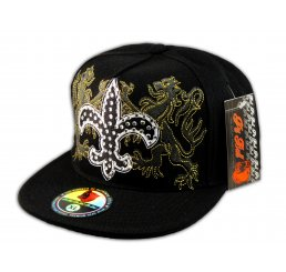 Fleur-de-lis on Black Flat Brim Hip Hop Hat Jewels from Pit Bull