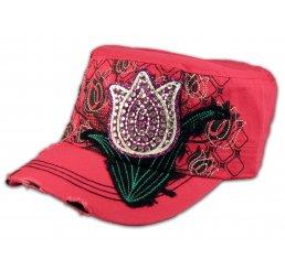 Purple Rose Bud on Pink Cadet Cap Military Hat Distressed Visor
