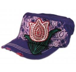 Red Rose Bud on Purple Cadet Cap Military Hat Distressed Visor